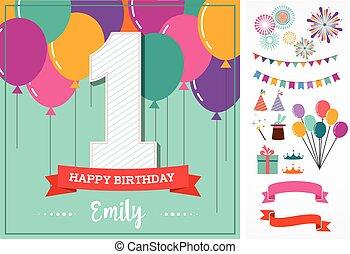feliz cumpleaños, tarjeta de felicitación, con, fiesta, elementos