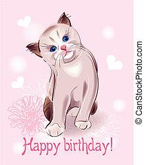 feliz cumpleaños, tarjeta de felicitación, con, poco, gatito, en, el, rosa, fondo., acuarela, style.