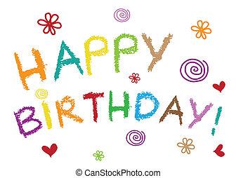 feliz cumpleaños, tarjeta de felicitación, -, vector, ilustración