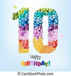 feliz cumpleaños, tarjeta, diez, años