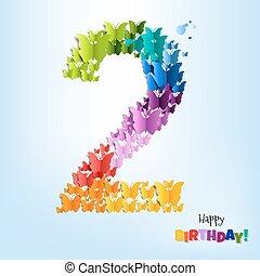 feliz cumpleaños, tarjeta, dos, años