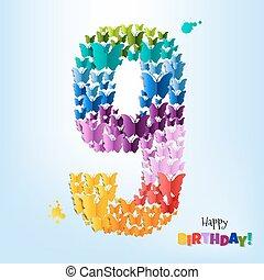 feliz cumpleaños, tarjeta, nueve, años