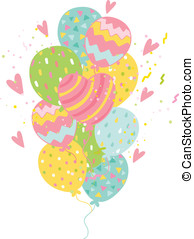 feliz cumpleaños, tarjeta, plano de fondo, con, balloons.