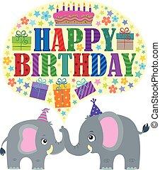 feliz cumpleaños, tema, con, elefantes