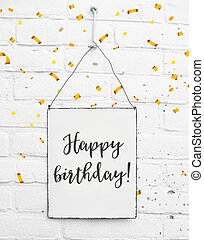 feliz cumpleaños, texto, bandera, con, confeti
