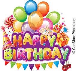 feliz cumpleaños, texto, con, fiesta, elemento