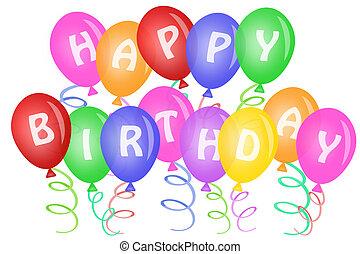feliz cumpleaños, texto, en, globos