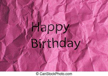 feliz cumpleaños, texto, en, papel rosa