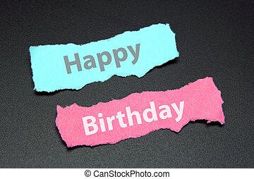 feliz cumpleaños, texto, en, papel roto