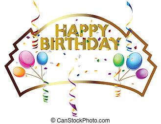 feliz cumpleaños, vector, ilustración