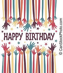 feliz cumpleaños, vector., manos