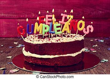 feliz, cumpleanos, feliz cumpleaños, en, español