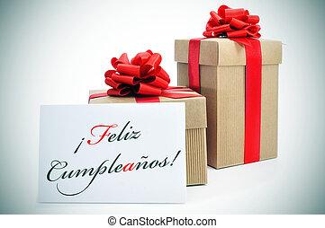 feliz, cumpleanos, feliz cumpleaños, escrito, en, español