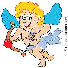 feliz, cupido, con el arco y la flecha
