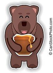 feliz, cute, urso, com, pote, de, mel, ligado, um, fundo branco
