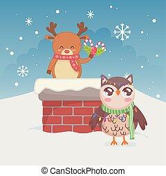 feliz, cute, veado, natal, coruja, chaminé, snowflake