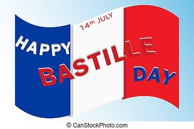 feliz, día, bastille
