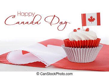 feliz, día, canadá, cupcake