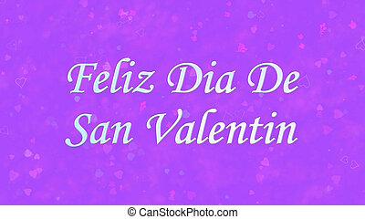 "feliz, día de valentín, texto, en, español, ""feliz, dia, de, san, valentin"", en, fondo púrpura"