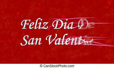 """feliz, día de valentín, texto, en, español, """"feliz, dia, de, san, valentin"""", vueltas, a, polvo, de, derecho, fondo rojo"""