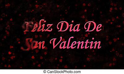 "feliz, día de valentín, texto, en, español, ""feliz, dia, de, san, valentin"", vueltas, a, polvo, de, izquierda, en, fondo oscuro"