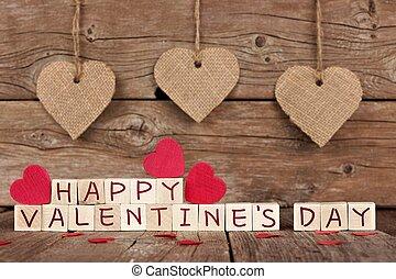 feliz, día de valentines, bloques de madera, con, rústico, corazón, decoración, contra, un, madera, plano de fondo