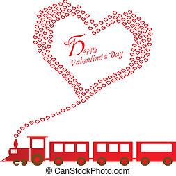 feliz, día de valentines, con, tren