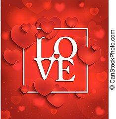 feliz, día de valentines, en, fondo rojo, con, corazones