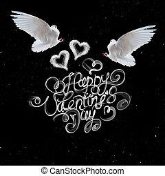 feliz, día de valentines, vendimia, letras, escrito, por, fuego, o, humo, encima, fondo negro, con, dos, vuelo, palomas, y, corazones