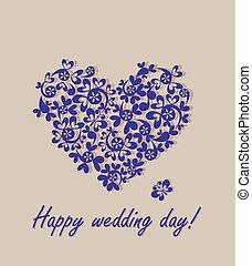 feliz, day!, cartão cumprimento, casório