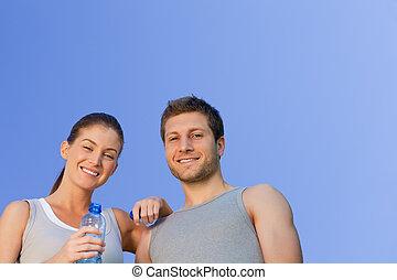 feliz, deportivo, pareja