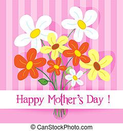 feliz, dia, cartão, mãe