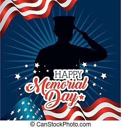 feliz, dia comemorativo, cartão, com, soldado, silhuette