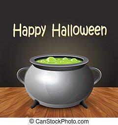 feliz, dia das bruxas, bandeira, com, feiticeira, cauldron, ferver, a, potion.