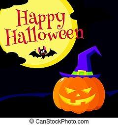 feliz, dia das bruxas, cartão cumprimento, cartaz, bandeira, desenho, com, ferver, caldron