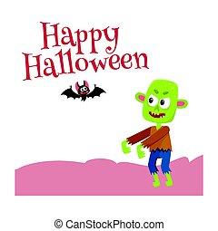 feliz, dia das bruxas, cartão cumprimento, cartaz, bandeira, desenho, com, morcego, caldron
