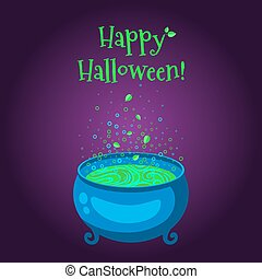 feliz, dia das bruxas, cartaz, ., a, cauldron, com, verde, cheio, de, ferver, poção, ligado, um, roxo, experiência.