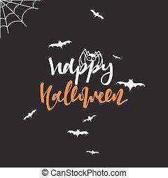feliz, dia das bruxas, inscrição, mão, lettering, para, desenho, feriado, cartões