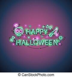feliz, dia das bruxas, sinal néon