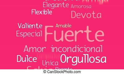 Feliz Dia de la Madre, Happy Mother's Day in Spanish language, greeting card. Pink silhouette of pregnant woman with a cloud of words inside on a yellow background with hearts. 2D animation