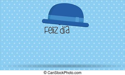 Feliz Dia del Padre greeting card - Happy Fathers Day in spanish language - A blue hat with a ball appears and from the hat the letters fall to form the message, then a blue bow tie and a mustache appear on a blue background with white circles