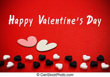 feliz, dia dos namorados, com, corações