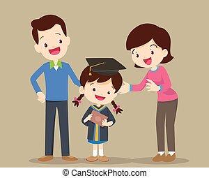 feliz, dia, família, graduação