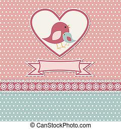 feliz, dia mães, cartão, com, cute, pássaros