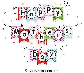 feliz, dia mães, com, bunting, bandeiras