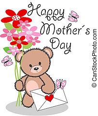 feliz, dia, mães