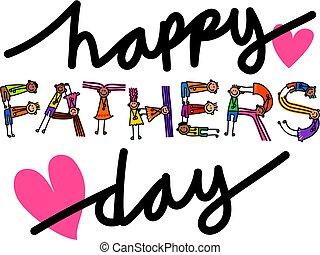 feliz, dia pais, crianças, título, texto