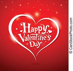 feliz, dia valentine, lettering