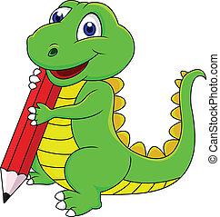 feliz, dinossauro, caricatura, escrita, com