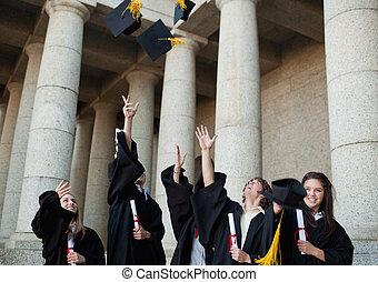 feliz, diplomados, jogar, seu, chapéus, em, a, céu